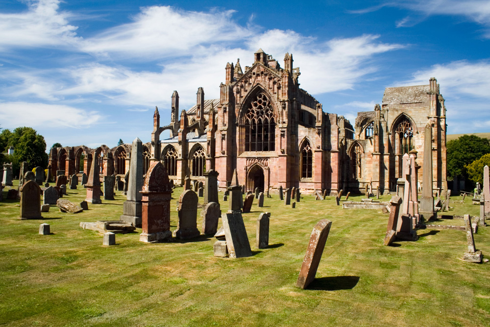 The ruin of Melrose Abbey in the Scottish borders, Melrose, Scotland.